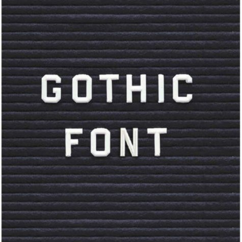 "Ghent Gothic Font Uppercase Letters, Numbers & Symbols, 3/4"", White"