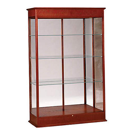Varsity Display Case w/ Mirror Back - Cherry Oak
