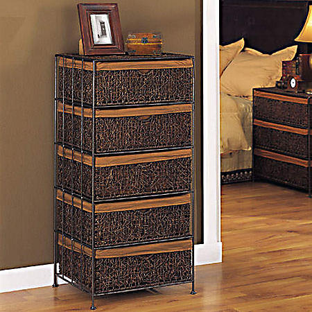 5-Drawer Chest - Woven Basket Style Drawers