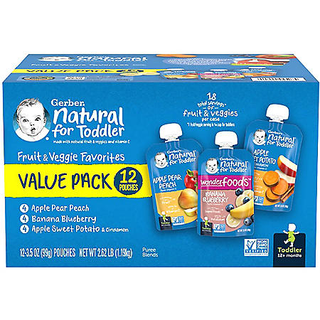 Gerber Toddler Pouch Variety Pack (3.5 oz., 12 ct.)