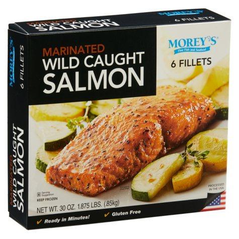 Morey's Wild Caught Marinated Seasoned Salmon, Frozen (6 Fillets)