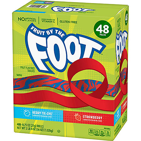 Fruit by the Foot Snacks, Berry Tie-Dye and Strawberry Variety Pack (48 ct.)