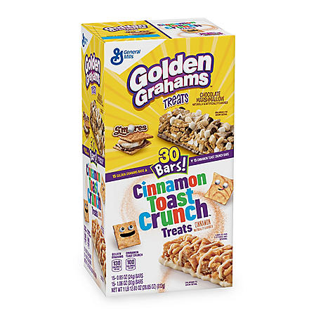 Golden Graham and Cinnamon Toast Crunch Cereal Bar Treats (30 Count, 15 Each)