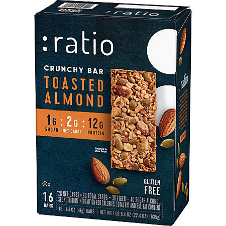 :ratio KETO* friendly Toasted Almond Crunchy Bar (16 pk.)