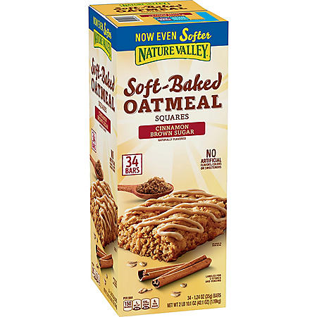 Nature Valley Soft-Baked Oatmeal Squares, Cinnamon Brown Sugar (34 ct.)