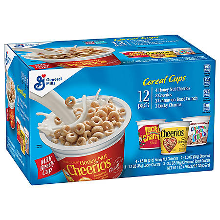 Honey Nut Cheerios, Cheerios, Cinnamon Toast Crunch & Lucky Charms Cereal Cups, Variety Pack (12 ct.)