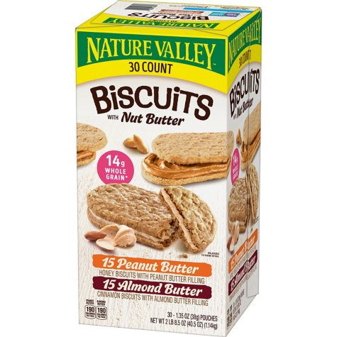 Nature Valley Biscuit Sandwich Almond Butter & Peanut Butter Variety Pack (1.35 oz ea., 30 pk.)