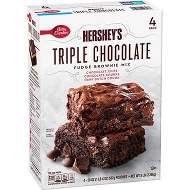Betty Crockers Hersheys Triple Chocolate Brownie Mix 20 Oz 4 Pk