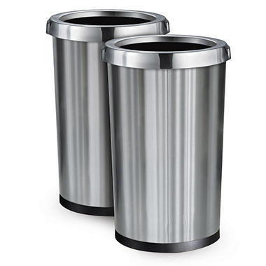 tramontina stainless steel commercial trash bin 13 gallons 2 pack - Commercial Trash Cans