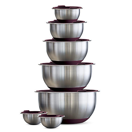 Tramontina 14-Piece Covered Stainless-Steel Mixing Bowl Set (Assorted Colors)