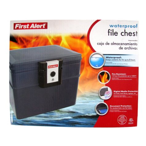 First Alert - 2037F Fire and Water File Chest, 0.62 Cubic Foot, Gray
