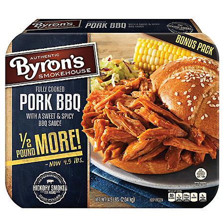 Byron's Fully Cooked Pork BBQ with Sweet & Spicy BBQ Sauce (4.5 lb.)