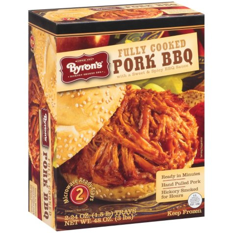 Byron's® Fully Cooked Pork BBQ w/Sweet & Spicy BBQ Sauce - 2/24 oz.