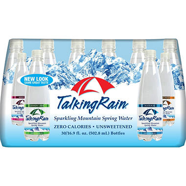 Talking Rain Sparkling Spring Water Variety Pack (16.9 oz. bottles, 30 pk.)