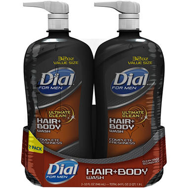Dial For Men Hair + Body Wash, Complete Freshness (32 fl. oz., 2 pk.)