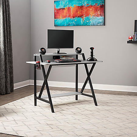 SD Gaming Challenger PC Gamer Computer Desk with Monitor and Bottom Shelf