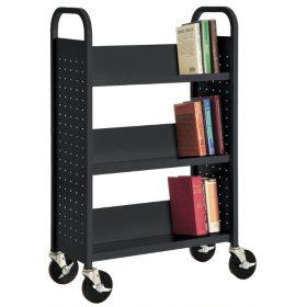 Sandusky Single Sided 3-Sloped Shelf Welded Booktruck, Select Color