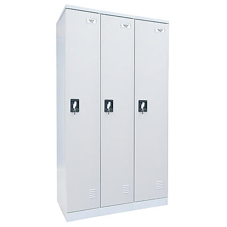 "Sandusky Quick Assembly Triple Wide Locker - Dove Gray - 72""H x 36""W x18""D"