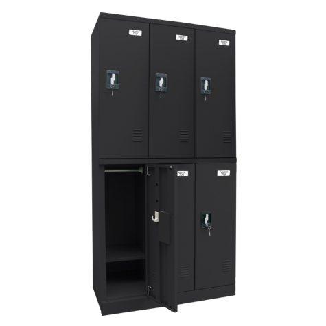 "Sandusky Quick Assembly Triple Wide Locker - Black (72""H x 36""W x 18""D)"