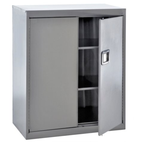 "Sandusky Stainless Steel Paddle Lock Storage Cabinet - Grey (36""W x 18""D x 42""H)"