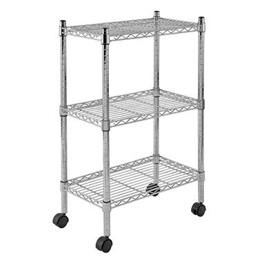 Sandusky Heavy Duty 3-Level Mobile Wire Shelving Unit - Chrome (22