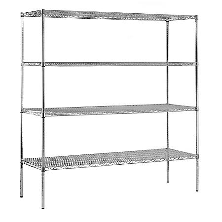 "Sandusky Heavy Duty 4-Level NSF Certified Wire Shelving - Chrome (74""H x 72""W x 18""D)"