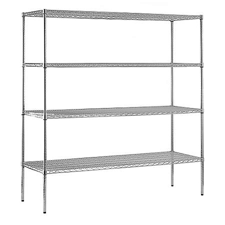 "Sandusky Heavy Duty 4-Level NSF Certified Wire Shelving - Chrome (74""H x 72""W x 24""D)"
