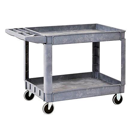 "Sandusky 2-Shelf Plastic Utility Cart with 5"" Casters"