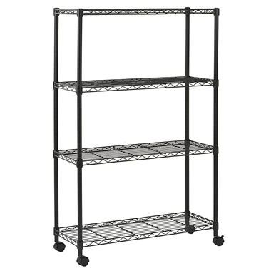 Sandusky 4-Level Mobile Wire Shelving Unit - Black (36