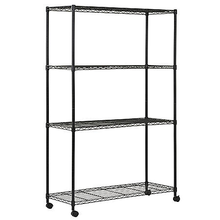 "Sandusky 4-Level Mobile Wire Shelving - Black (48""W x 72""H x 18""D)"