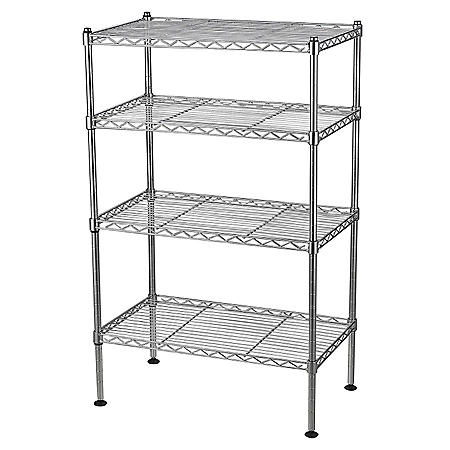 "4-Shelf Light Duty Chrome Wire Shelving Unit - 20""W x 32""H x 12""D"