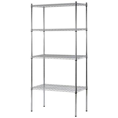 Chrome Wire Shelf | Heavy Duty Nsf Certified 4 Level Wire Shelving Chrome 74 H X 36 W