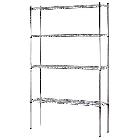 "Heavy Duty NSF Certified 4-Level Wire Shelving - Chrome (74""H x 48""W x 12""D)"
