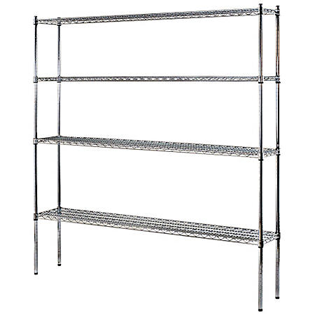 "Heavy Duty NSF Certified 4-Level Wire Shelving - Chrome (74""H x 72""W x 12""D)"