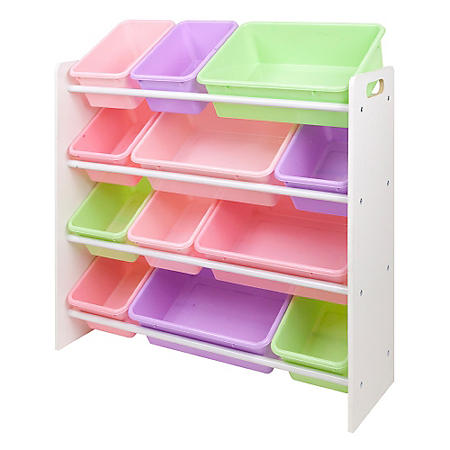 Kids Bin Organizer with 12 Plastic Bins - Bright or Pastel Color Options