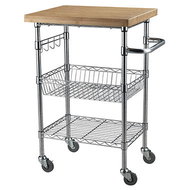 Bamboo Top Chrome Wire Kitchen Cart - Sam\'s Club
