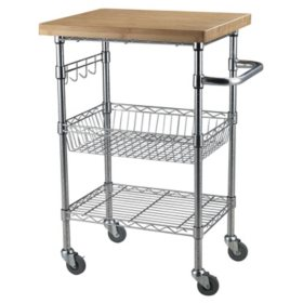Bamboo Top Chrome Wire Kitchen Cart