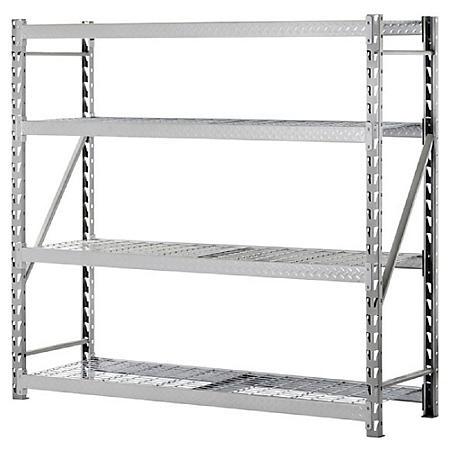 Muscle Rack Heavy-Duty 4-Level Welded Steel Treadplate Rack with Wire Shelves