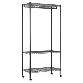 Muscle Rack Steel Rolling Garment Rack with Zippered Cover (Black)