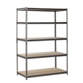 muscle rack 5 shelf heavy duty steel shelving 48w x 24 - Heavy Duty Bookshelves