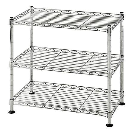 Muscle Rack 3-Shelf Mini Wire Shelving Unit (Chrome)