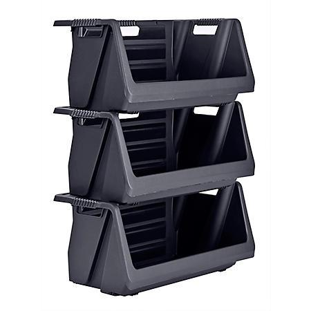 Muscle Rack Stackable Storage Bin in Black (3 pk.)