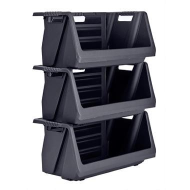muscle rack stackable storage bin in black 3 pk - Stackable Storage Bins