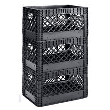 Muscle Rack 24 qt. Black Heavy-Duty Rectangular Stackable Dairy Milk Crate (3 pk.)
