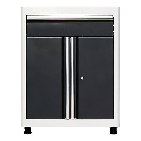 "American Heritage 36""H x 30""W x 18""D Steel Base Cabinet with Drawer (White/Charcoal)"
