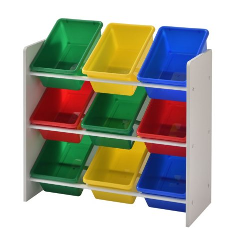 Muscle Rack Kids Storage Organizer with 9 Bins (White)