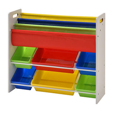 Muscle Rack Book U0026 Toy Storage Organizer With 6 Plastic Bins