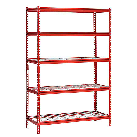 "Muscle Rack 5-Shelf Steel Shelving Unit, 48"" W x 72"" H x 24"" L (Red)"
