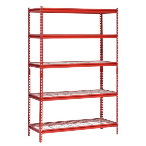 "Muscle Rack 5-Shelf Steel Shelving Unit, 48"" Width x 72"" Height x 24"" Length (Red)"
