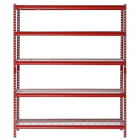 "Muscle Rack 5-Shelf Steel Shelving Unit, 60"" Width x 72"" Height x 24"" Length (Red)"